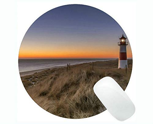 Yanteng Round Mouse mat,Lighthouse Sea Cliffs Water Away Road Gaming Mouse Pads