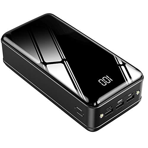 Power Bank 50000Mah Cargador Portátil De Batería Externa De Alta Capacidad Y Paquete De Batería De Capacidad Portátil con Pantalla LCD Y 3 Salidas Y Entrada USB Y 2 Luces LED,Negro
