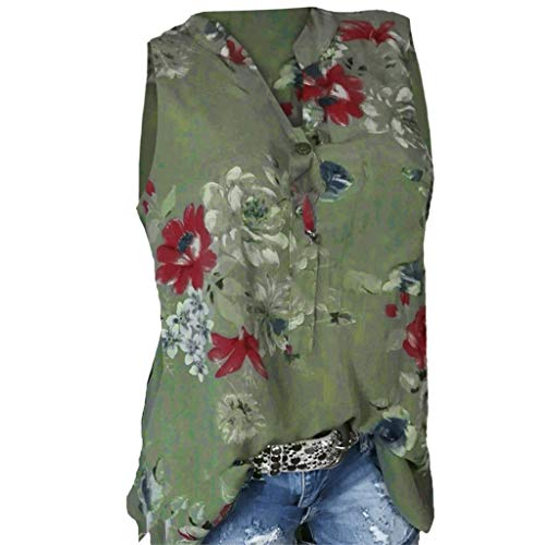 Momoxi Damen Sommer Plus Size Loose Print V-Ausschnitt ärmellose Bluse Pullover Casual Tank Lady-fit Tops Shirt Sleeveless am Strand Grün M