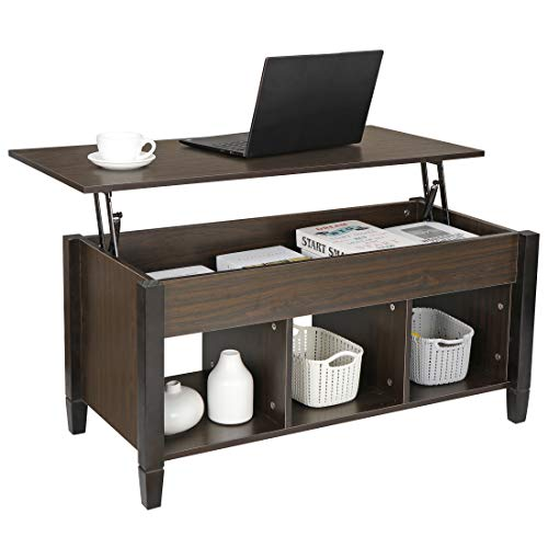 SUPER DEAL Lift Top Coffee Table with Hidden Storage Compartment - Pop-up Storage Cocktail Table for Living Room, Espresso