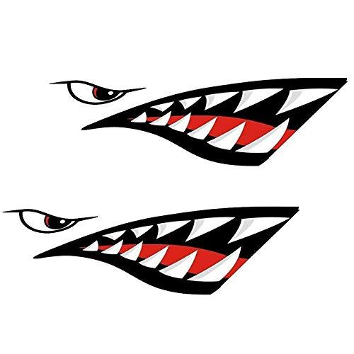 Andifany Impermeable 2 Piezas Calcomanía De Boca De Dientes De Tiburón Pegatinas para Kayak Bote Bote Barco Pegatinas Duraderas Decoración De La Ventana De Coche Casa