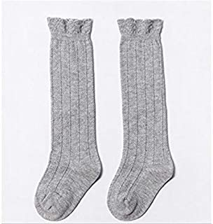 Lovely Socks 6 Pairs Girls Children Cotton Socks Kids Spring and Autumn Lace Long Tube Socks (Black) Newborn Sock (Color : Grey)