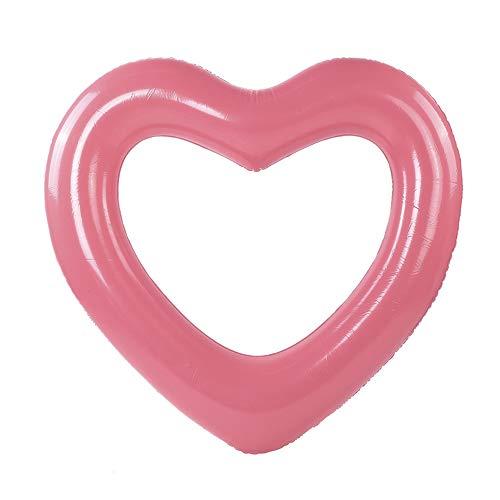 Anillos de natación, flotadores inflables para piscina Anillos de tubo, anillo de corazón, juguetes de verano para niños, adultos, piscina, flotadores para piscina, anillos de tubo(Rosa Dorado