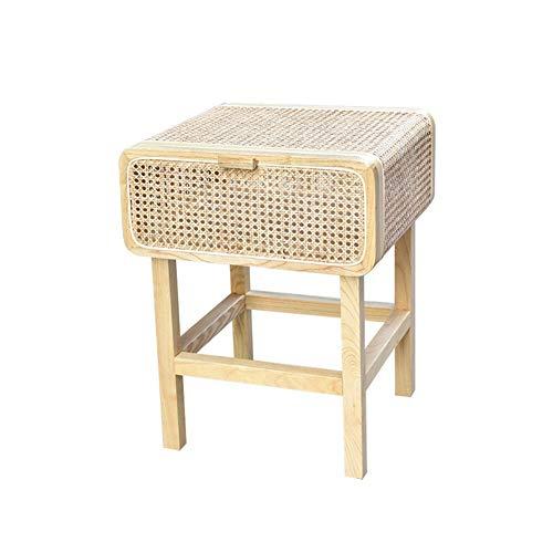J- Beistelltisch Nachttisch Nachttisch Echt Rattan Handarbeit Massivholz Neue Chinesischer Kaffeetisch Einfache Retro- Kleines Kabinett (Color : C)
