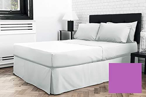 Euro IKEA - Sábana plisada para cama continental (139,7 x 198,1 cm), color morado