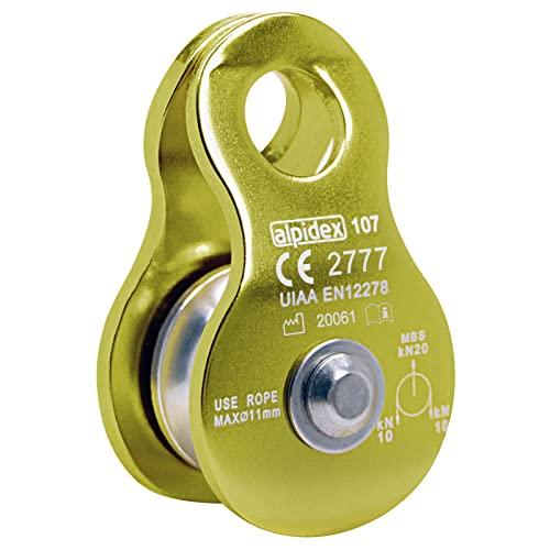 ALPIDEX Seilrolle Umlenkrolle 20 kN - geeignet für Seile bis 11 mm Durchmesser - EN12278, Farbe:Green