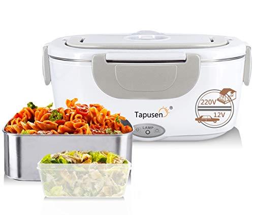 Tapusen Lunch Box Elettrico 2 in 1 per Auto e Lavoro Tarter Elettrico 220V e 12V scaldavivande Elettrico in Acciaio Inox 1.5L con Due comparti e Cucchiaio