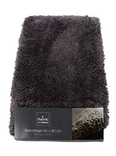 Möve! Badvorleger grau, ca. 50 x 80 cm, Luxuskollektion, Badezimmermatte, hochflorig, schnelltrocknend, sehr saugfähig, rutschfest, Maschinenwäsche