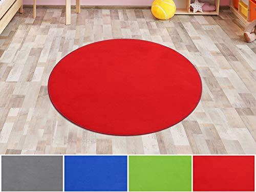 Primaflor - Ideen in Textil Kinderteppich SITZKREIS Rot Rund 200 cm, Velour Kurzflor...