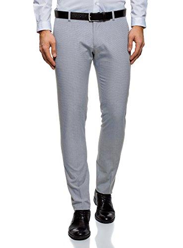 oodji Ultra Hombre Pantalones Slim con Pinzas, Azul, ES 44 (L)