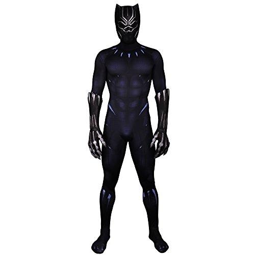 Joyfunny Mens Superhero Panther Jumpsuit Halloween Cosplay Costume Mask M