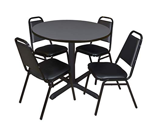 Cain 42' Round Breakroom Table- Grey & 4 Restaurant Stack Chairs- Black