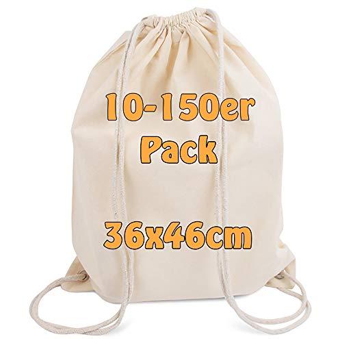 Cottonbagjoe Moderner Turnbeutel Baumwollrucksack Öko-Tex Standard Zertifiziert Stoffbeutel mit Kordelzug schwarz 36x46cm (natur, 10)