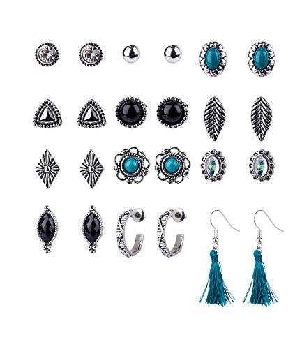 SIX Damen Ohrringe, 12er Set Ohrringe im Festival Style, Stecker, Creolen und Ohrhänger mit Tasseln in silber, schwarz und petrol (795-203)