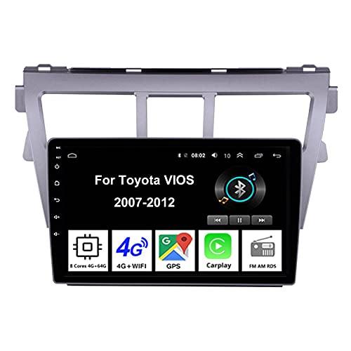 Android 10 9 Pulgadas Coche Radio De Coche GPS Navegación Para Toyota VIOS 2007-2012 Pantalla Tactil Para Coche Accesorios De Coche Conecta Y Reproduce Car Audio Player (Color : 8Cores 4G 4G64G)