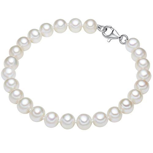 Valero Pearls Damen-Armband Hochwertige Süßwasser-Zuchtperlen in ca. 7-8 mm Oval weiß 925 Sterling Silber in verschiedenen Länge - Perlenarmband mit echten Perlen weiss 60201420