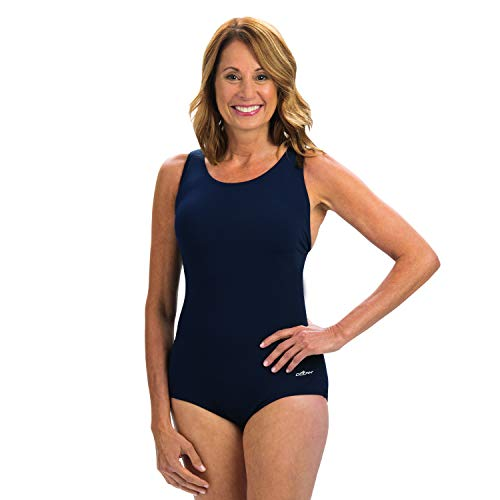 Dolfin Women's Conservative Solid Lap One Piece Swimsuit (Navy, 20)
