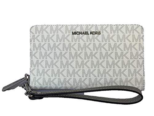 Michael Kors Jet Set Travel Medium Zip Around Phone Holder Wallet/Wristlet, Bright White