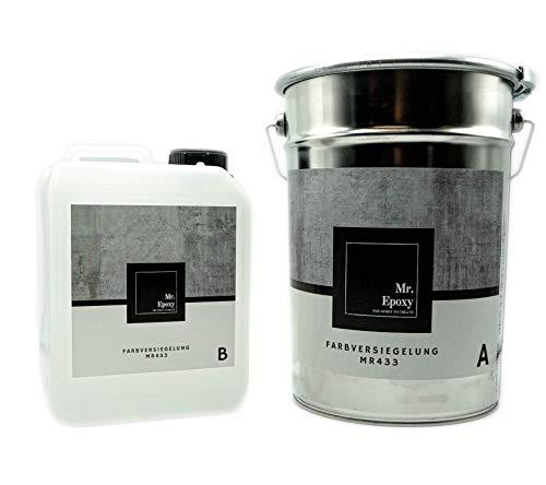 Mr. Epoxy Bodenbeschichtung aus 2k Epoxidharz zur Verwendung als Garagenfarbe, Kellerfarbe, Industriefarbe 10 kg, RAL 9001 Creme-Weiß