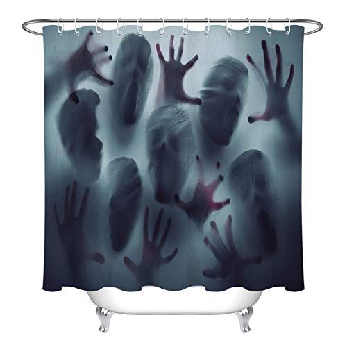 LB Halloween Duschvorhang Zombie,Horrornacht Polyester Extra Lang Bad Gardinen Wasserdicht Anti Schimmel Badezimmer Deko Heimzubehör mit Vorhanghaken,180X200cm