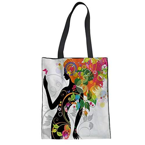 FANCOSAN Women's Afro Girls Print Canvas Convertible Tote Lightweight Ladies Handbag Purse, African-12,