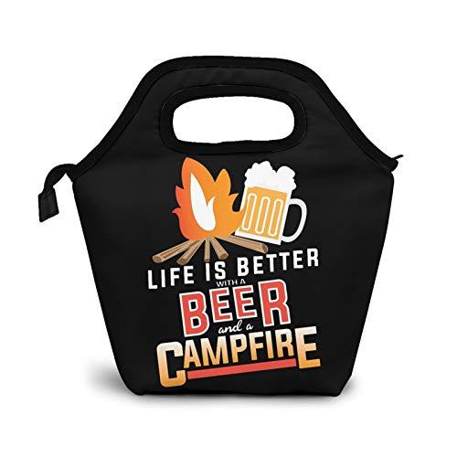 Life is Better con cerveza y fogata pequeñas bolsas de almuerzo para mujeres y niños, caja de almuerzo aislada impermeable para el trabajo y la escuela