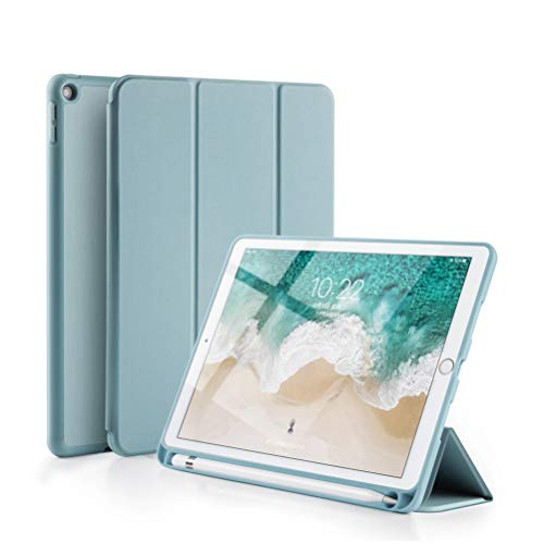 GUDOU 2019 New iPad Mini 5th Gen Smart Case with Pencil Holder,Ultrathin Trifold PU Leather+Soft Silicone Stand Cover with Auto Sleep/Wake,Protective for iPad Mini 5 7.9' 2019 Release (Sky Blue)