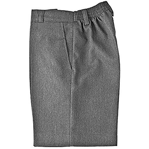 Fashion's island Pantalones cortos para niños con dos bolsillos laterales, color negro, gris, azul marino, con cremallera y clip para uniforme de 3 a 16 años