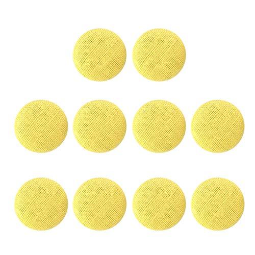 Bonarty 10pcs Stoffknöpfe, Knöpfe Stoff bezogen, stoffbezogene Dekoknöpfe Bastelknöpfe Nähknöpfe für Polster Kleidung Schuhe Handwerk Nähen - Gelb