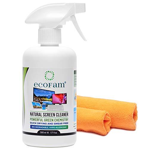 EcoFam - Detergente spray naturale con due panni in microfibra di alta qualità, ideale per LCD, LED, HDTV, monitor di computer, TV, iPad, iPhone, tablet, smartphone e computer portatili (500 ml)