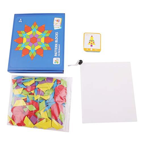 Yingwei VWH 155 Pcs Tangram Puzzles Classique IQ Puzzle Conseil avec Cartes de Référence Enfants Éducatifs Jouets d'apprentissage