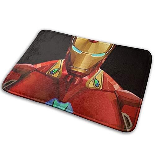 Felpudo de Bienvenida Iron Man para Interior y Exterior, Alfombrilla para el Piso con rasqueta para Zapatos, 15.7 x 23.5 Pulgadas