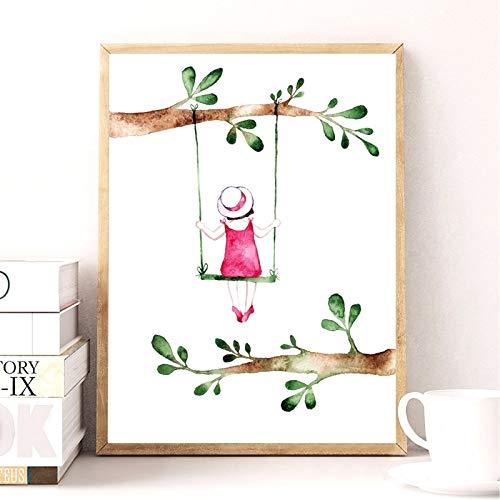 Geiqianjiumai Landelijke stijl lente meisje kunst print afbeelding schattig aquarel meisje tekenen op schommel meisje canvas kunst frameless schilderij