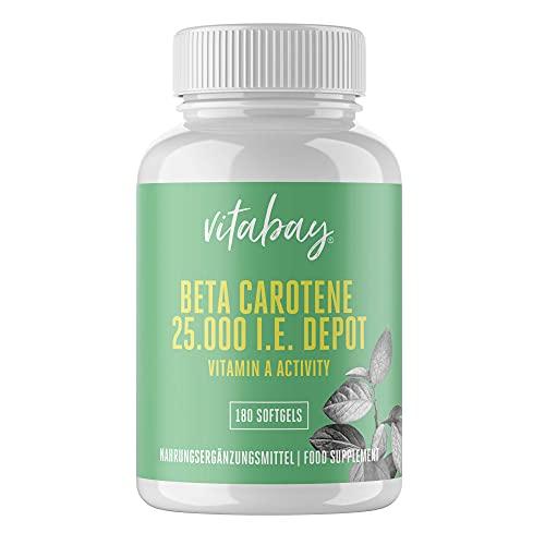 Vitabay Beta Carotin 25.000 IE • 180 Softgels • Provitamin A • Hochdosiert • Natürlicher Bronzer