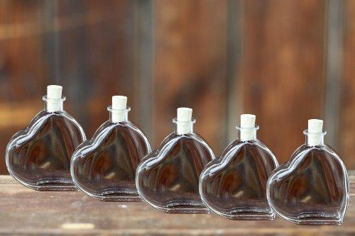 condecoro 5x Glasflasche Herz- Form 5x200ml leere Flaschen mit Korken, zum selber abfüllen, Likörflasche Schnapsflasche Ölflasche Saftflasche Herzflasche