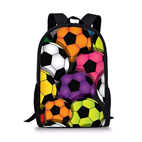 TTmom Schulrucksack,Schüler Bag,Rucksack Damen Herren Soccer Pattern Kids Back to School Backpack Student Book Bag Ball-6
