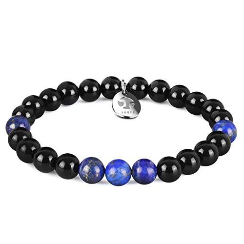 JOXFA Perlen Armband für Männer Frauen, 8mm Natürlichen Onyx Armbänder Edelstein runden Achat Perlen Inspirierende Heilung Kristall handgemachte Elastische Stretch Bettelarmband (Lapislazzuli)