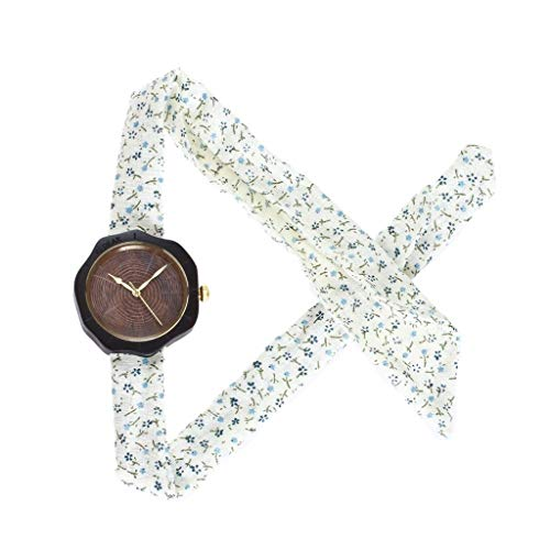 Orologio da uomo Zxy Sandalwood Watch, Fashion Trend Canvas Pure Natural Original ecológico y Saludable Reloj de Madera de Cuarzo, for Parejas DYF (Color : Ebony Light)