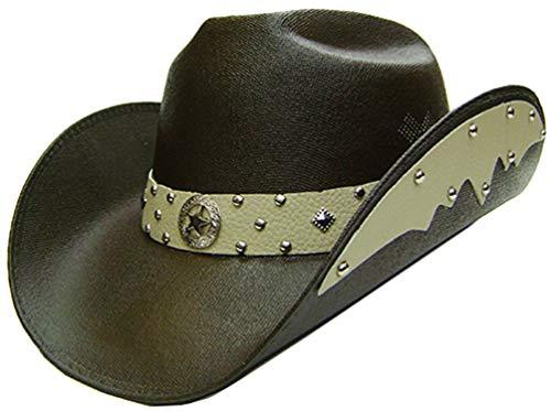 Modestone Unisex Chapeaux Cowboy Side Brim Leather Look Appliques Brown