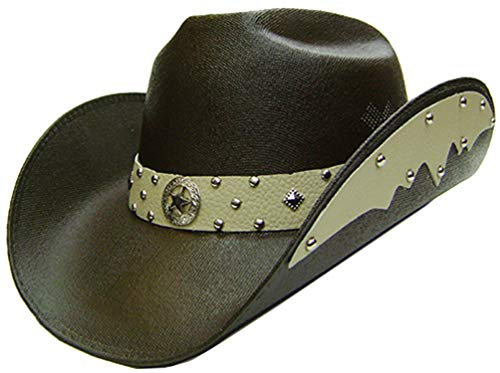 Modestone Unisex Chapeaux Cowboy Side Brim Leather Look Appliques Brown