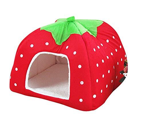 GUOCU Rote Erdbeere Haustierhaus Luxuriöses Weich Schlafsack Hundehütte Katzenhöhle Hund Katze Haus für Kleine Hunde und Katzen Rot S