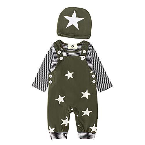 T TALENTBABY Primie - Conjunto de ropa de algodón puro para recién nacido, pelele de estrella, pantalones, top, gorro, mono, mono, color gris Verde militar. 18-24 Meses