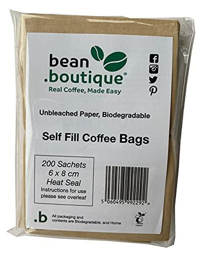 .boutique, Bean.boutique - Bolsas de café sin blanquear, sellado térmico, 6 x 8 cm, 200 unidades