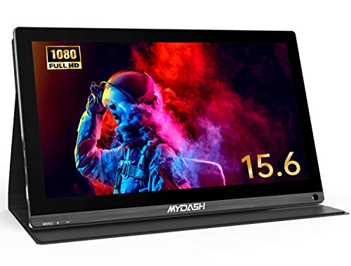 Portable Monitor, MYDASH 2020 15.6 Inch Full HD 1080P USB Type-C IPS Computer Display, Gaming Monitor with Mini HDMI/USB-C for Laptop PC PS4 Xbox Nintendo Raspberry Pi, Smart Cover Stand Included