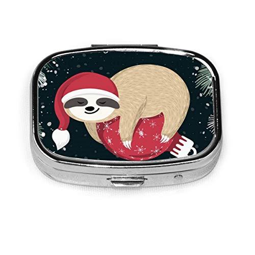 JOJOshop Gouden Kerstboom Schilderij Pil Box/Pill Case-Vierkante Pil Box/Case-Twee-Compartiment Pill Box/Pill Case Eén maat Leuke Baby luiaard slapen op de rode kerstbal
