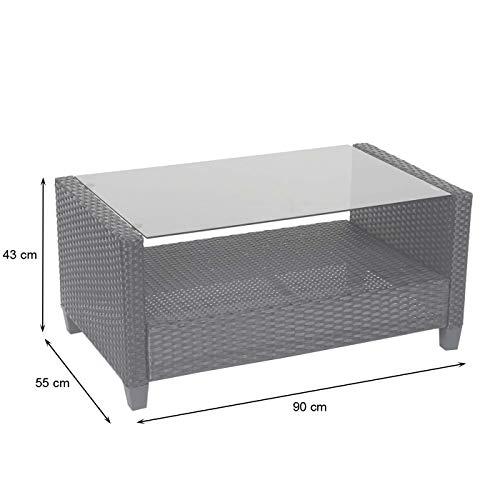 Mendler XXL Poly-Rattan Garnitur HWC-F10, Balkon-/Garten-/Lounge-Set Sitzgruppe, Sofa Sessel mit Kissen Spun Poly - anthrazit - 8