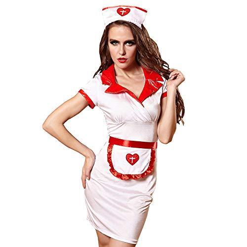 Women's Erotic Sleepwear & Robe Sets Women's Erotic Lingerie Sets Sex Nurse Costumes Dress Women Teddy Lingerie Sexy Hot Erotic Game Cosplay Nurse Uniform V-Neck Babydoll Dress Halloween Cosplay@As_P