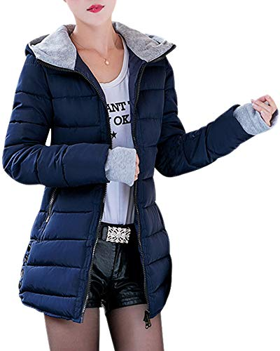 BOZEVON Abrigo de Cremallera Acolchado Chaqueta Largo con Capucha de Larga para Mujer Invierno