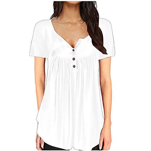 NAQUSHA Camiseta de manga corta con cuello en V para mujer