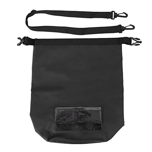 Dilwe Wasserdichter Packsack, Roll Top Schwimmender Packsack mit Abnehmbarem Gurt für Wassersport Freien(Schwarz)